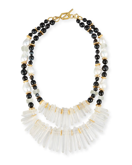Akola Two-Strand Black Agate & Crystal Necklace