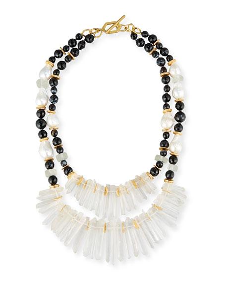 Akola Two-Strand Black Agate & Crystal Necklace