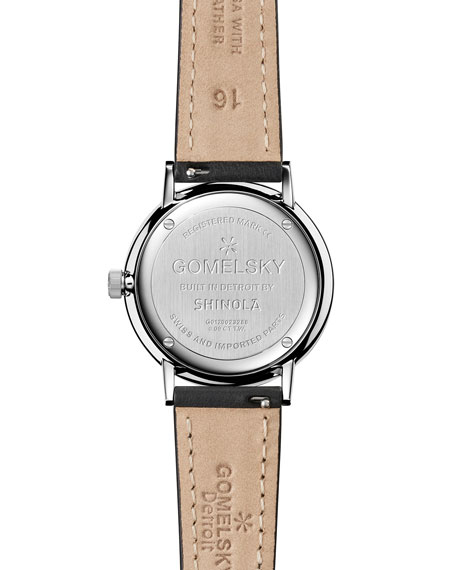 Sandstone Leather Strap Watch with Diamonds