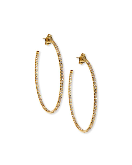 Roberto Coin 18k White Gold Extra Large Hoop Earrings With Micro Pave Diamonds In Yellow