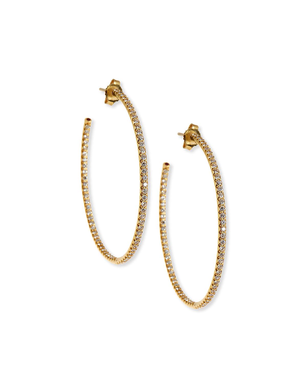 45mm Micro Pave Diamond Hoop Earrings In 18k Gold