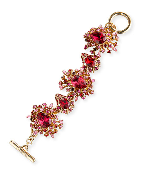 Oscar de la Renta Tiered Crystal Toggle Bracelet,