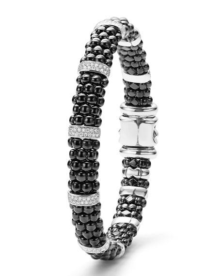 9mm Black Caviar Bracelet with Diamond Stations