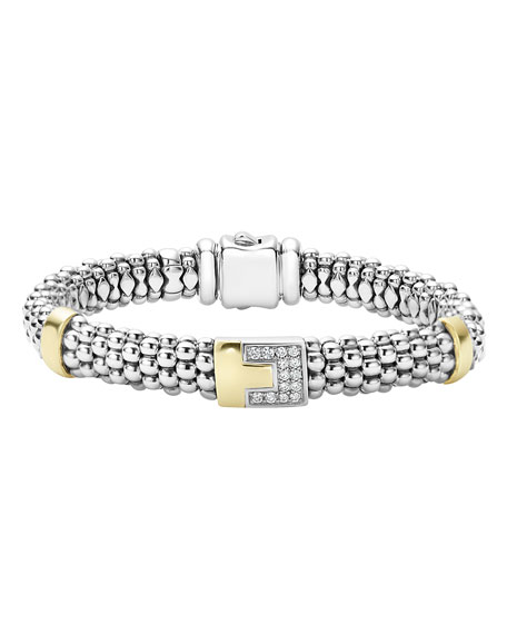 Lagos Sterling Silver Caviar Bracelet with Diamond Station,