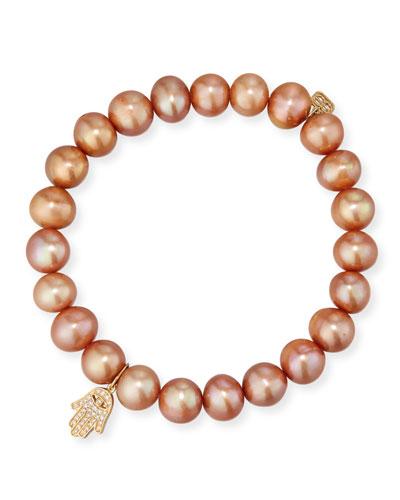 8mm Champagne Pearl Bracelet w/ 14k Diamond Hamsa Charm