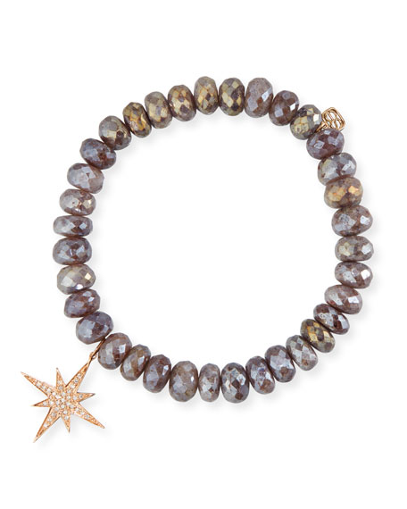 8mm Quartz Beaded Bracelet w/ 14k Diamond Starburst Charm