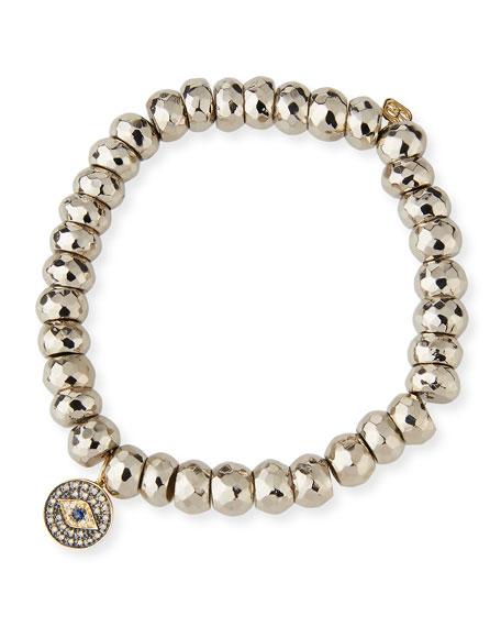 8mm Silver Pyrite Beaded Bracelet with Diamond Evil Eye Charm
