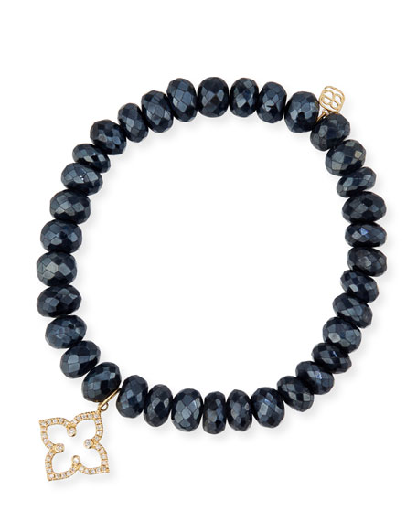 Sydney Evan 8mm Faceted Black Spinel Beaded Bracelet with Mini White Gold Pave Diamond Disc Charm (Made to Order) rFP71tLRp