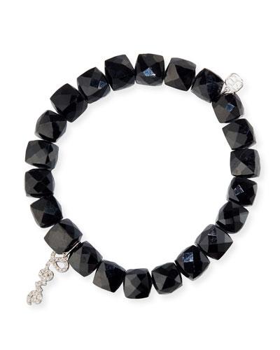 Black Spinel Beaded Bracelet with 14k White Gold/Diamond Love Charm