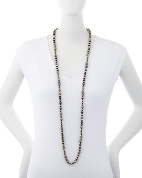 Uma Striped Bead & Pyrite Necklace