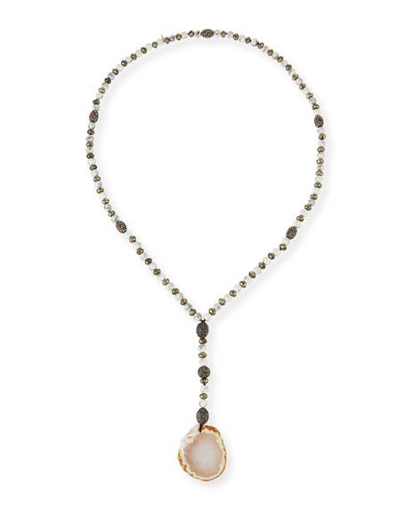 Hipchik Sophia White Pyrite & Agate Pendant Necklace
