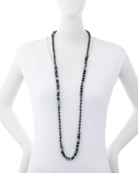 Francine Turquoise, Agate & Rhinestone Beaded Necklace