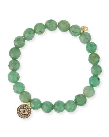 Sydney Evan 8mm Faceted Green Beaded Bracelet w/14K