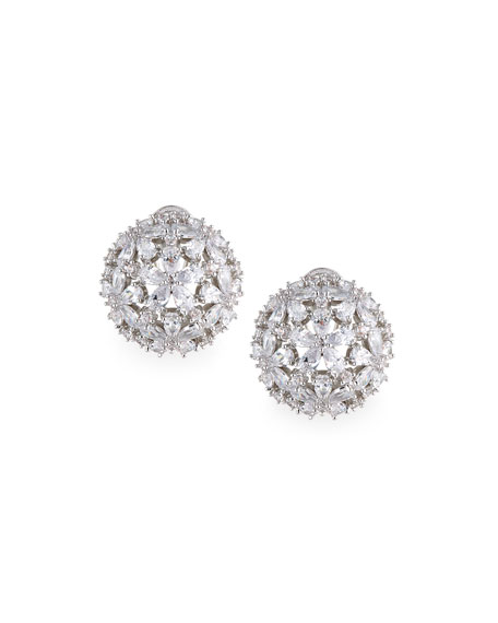 Fallon Monarch Florette Crystal Button Earrings