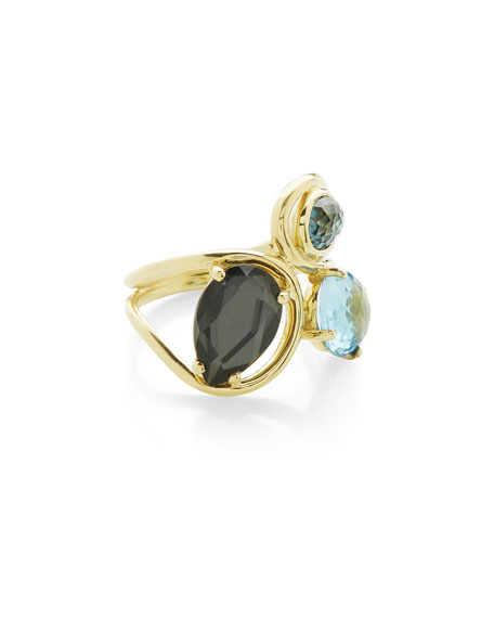 18K Rock Candy Squiggle Ring in Midnight Rain, Size 7