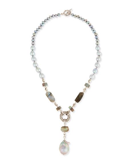 Stephen Dweck Baroque Pearl Y-Drop Necklace