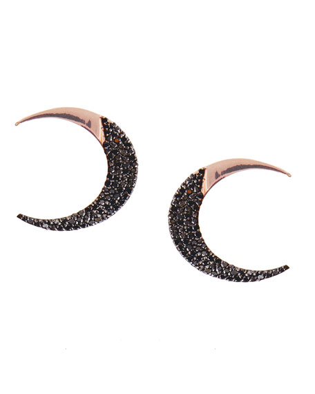 Reckless Rose Crescent Stud Earrings with Black Diamonds