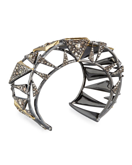Two-Tone Crystal Cuff Bracelet