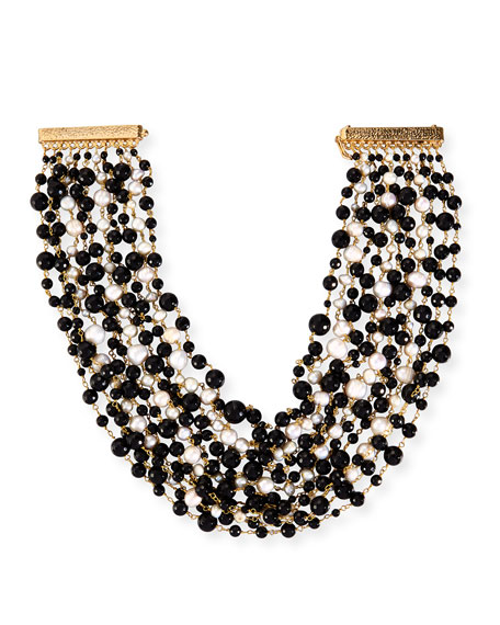 Pegaso Multi-Strand Beaded Necklace, White/Onyx