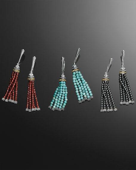 Icon Caviar Hematite Tassel Earrings