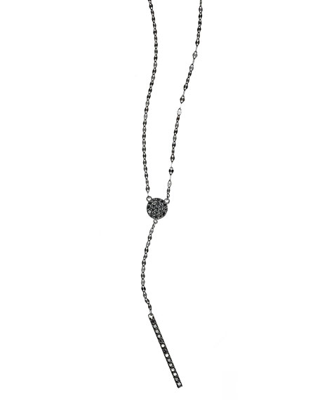 LANA Reckless Diamond Bar Lariat Necklace