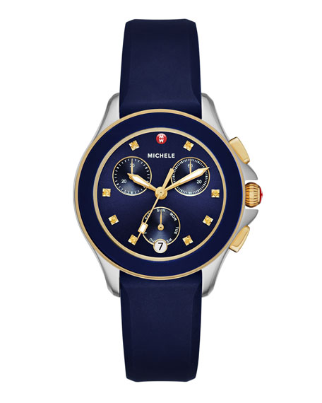 MICHELE Cape Two-Tone Chronograph Watch w/Silicone Strap, Navy