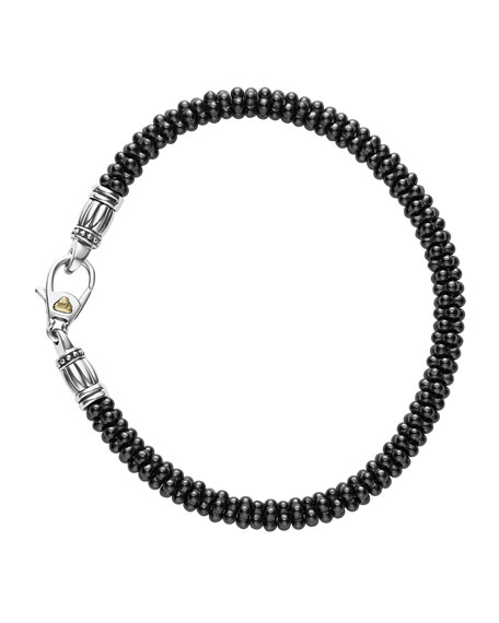 LAGOS Ceramic Black Caviar Beaded Bracelet, Size Medium