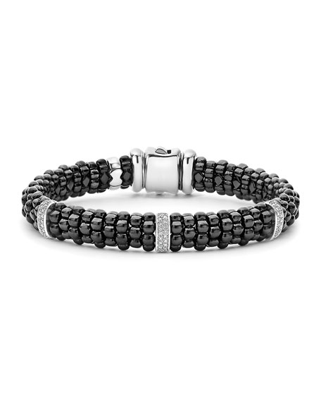 Lagos 9mm Black Caviar Bracelet with Diamond Stations,