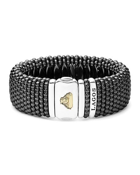 Black Caviar Ceramic Rope Bracelet, Size Medium