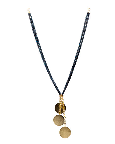 Beaded Sea Jasper Tassel Necklace