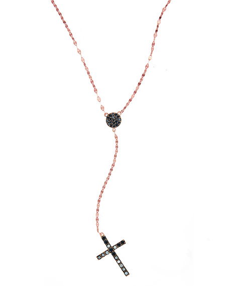 LANA Reckless Rose Black Diamond Cross Necklace