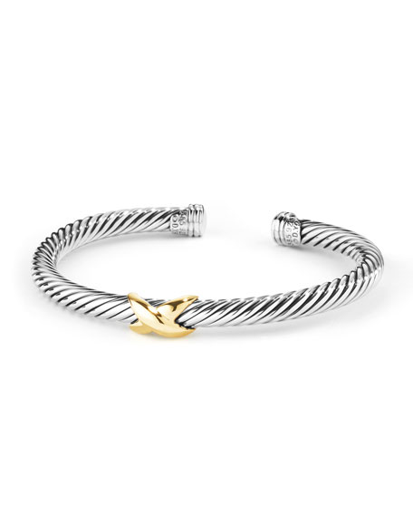 David Yurman 5mm Cable Bracelet, Silver/Gold