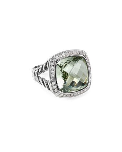 14mm Albion Prasiolite & Diamond Ring, Size 5