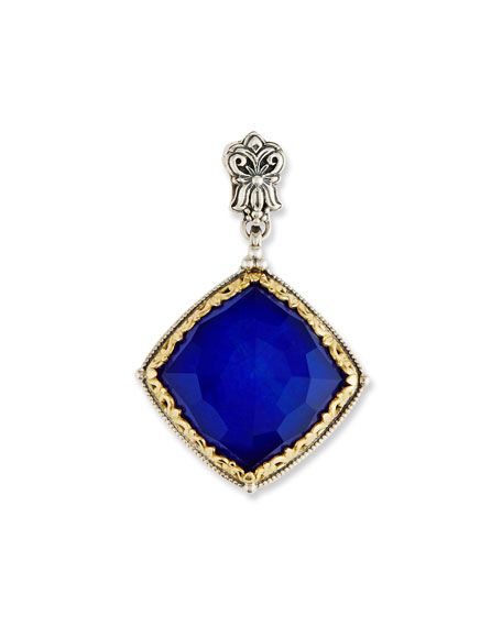 Faceted Square Crystal Quartz Over Lapis Pendant
