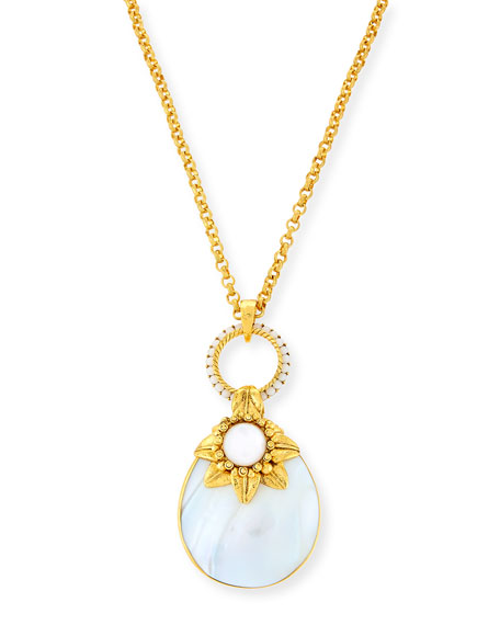 Jose & Maria Barrera Mother-of-Pearl Doorknocker Pendant Necklace