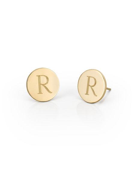 Round Engraved Monogram Stud Earrings