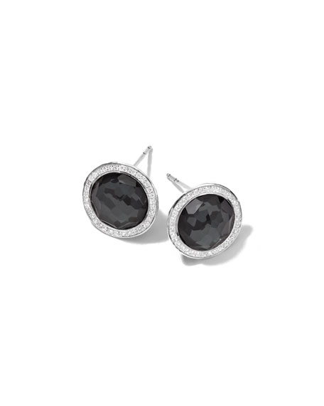 Ippolita Stella Stud Earrings in Hematite Doublet with