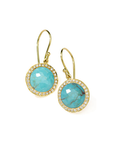 18k Mini Lollipop Earrings in Turquoise with Diamonds