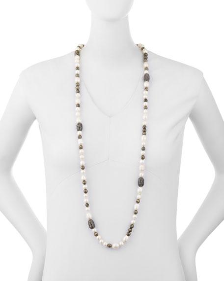 "Hipchik Mychelle Pearly Bead & Rhinestone Necklace, 43"""
