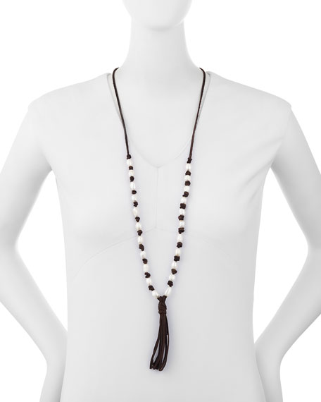 Long Beaded Tassel Pendant Necklace, Brown/White
