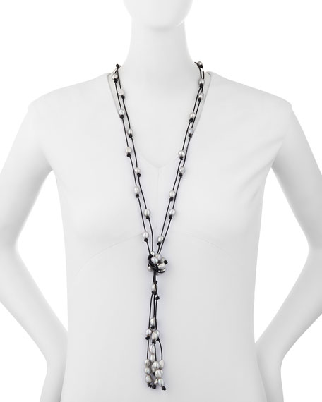 Veronica Leather Necklace with Baroque Pearls
