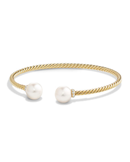David Yurman Solari 18K Gold & Freshwater Pearl Cuff Bracelet with Diamonds