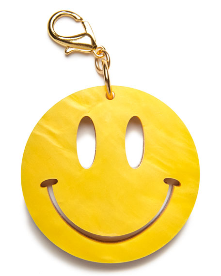 Edie Parker Happy Face Bag Charm, Yellow/Gold