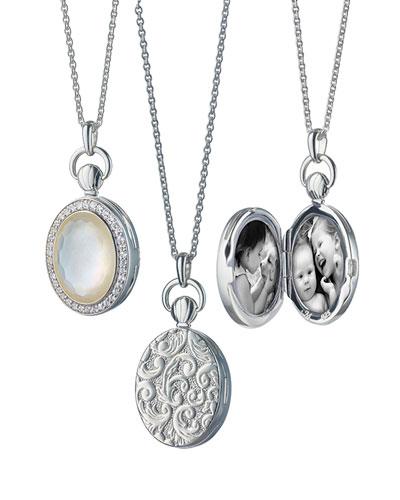 Petite Oval Rock Crystal Locket Necklace