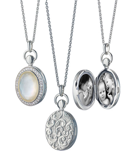 Petite Oval Rock Crystal Locket Necklace