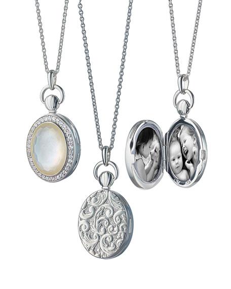 Monica Rich Kosann Petite Oval Rock Crystal Locket