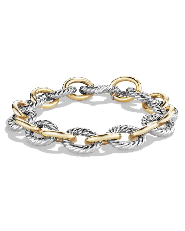 7af51adf079bc Large Oval Link Chain Bracelet, Silver/Gold