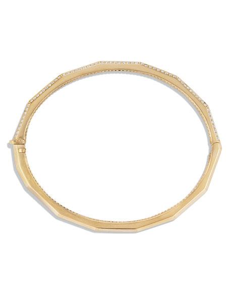 David Yurman Stax 18k Gold Faceted Bracelet with Diamonds, Size S