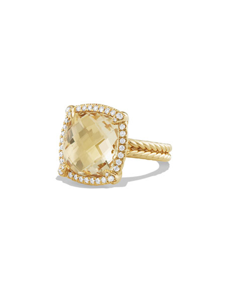 David Yurman 14mm Châtelaine 18K Champagne Citrine Ring with Diamonds, Size 8