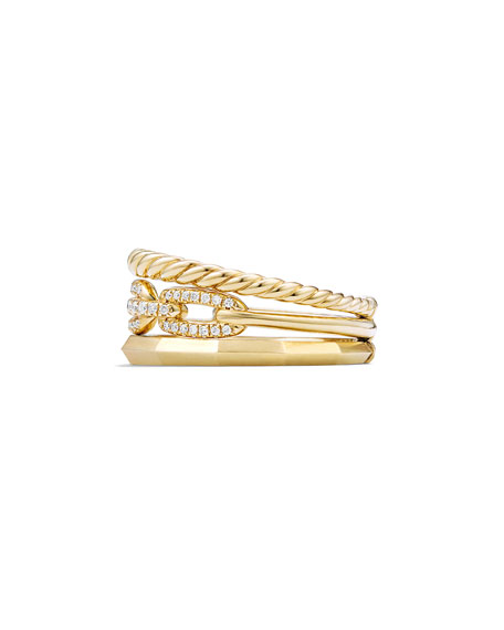 9.5mm Stax Three-Row 18K Chain Link Ring with Diamonds, Size 8